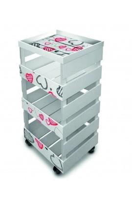 LUPIA -Carrello da cucina Multiuso Trasportabile Con Vassoio Trolley Box