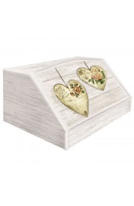 LUPIA-Portapane con decoro in 'Rose Heart Shabby' in legno
